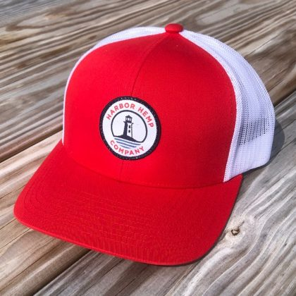 Harbor Hemp red and white hat